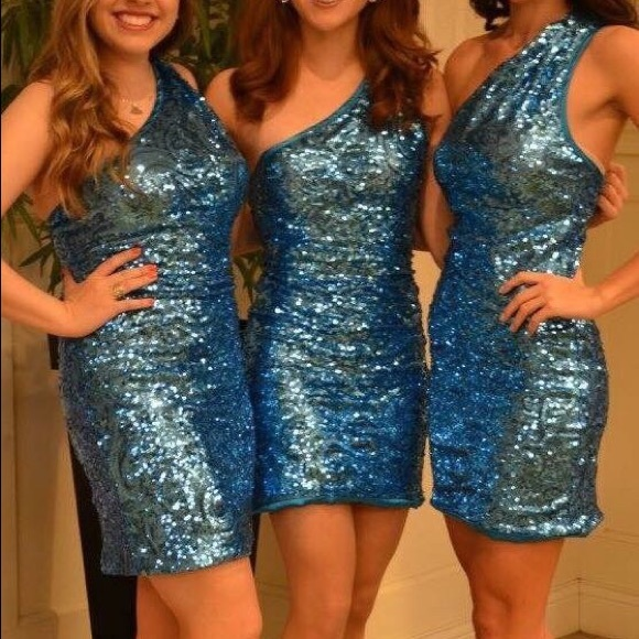 Shawn Yearick Dresses Blue Sequin Short Semi Formal Dress One